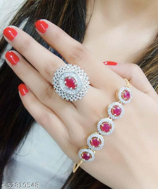 latest rings with beautiful bracelet for girls
