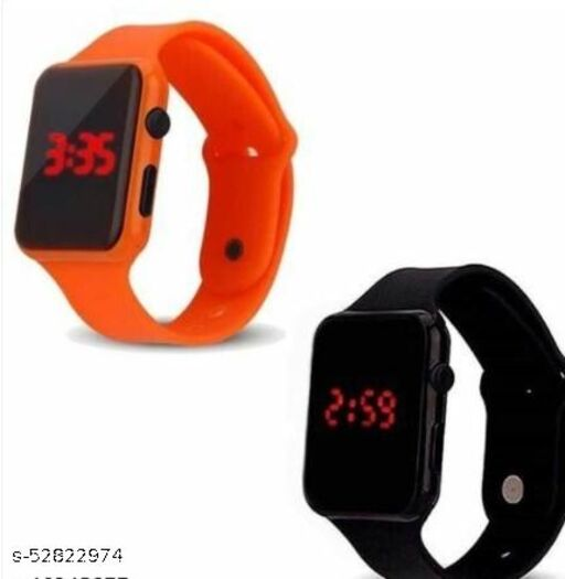 Trendy Rubber Kid's Watches Combo (Pack Of 2)