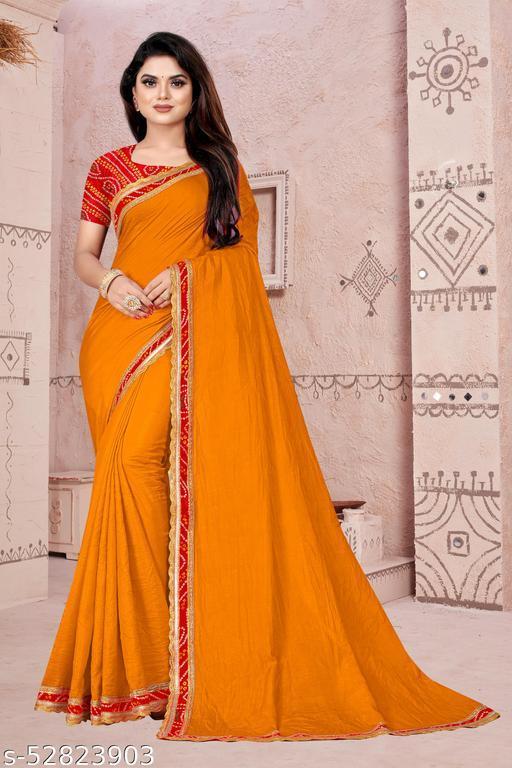 Women's Mustard Vichitra Silk Lace Work Saree