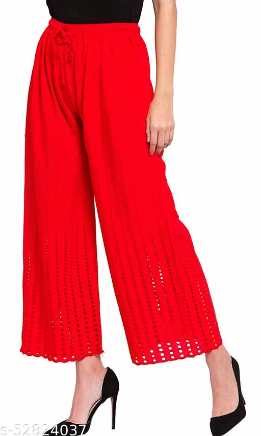 Stylish Lucknow Chicken Work Goli Embroidered Rayon Palazzo (RED) (14 inches MORI ,ACTUAL SIZE XXL)