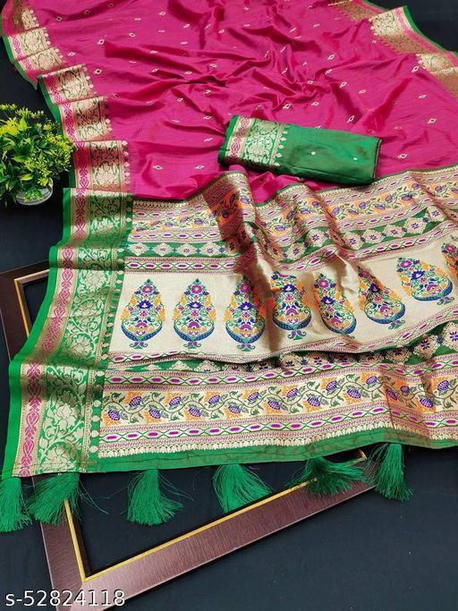 Saree :- Soft Kanjivaram  silk saree with Beautiful Gold Mina zari weaving Rich Pallu & weawing Border  Blouse :- Running  Silk with Border