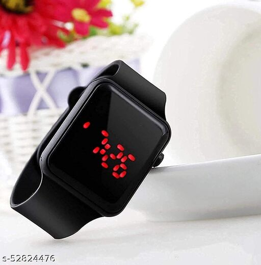 Digital Square  Red LED Smart Watch