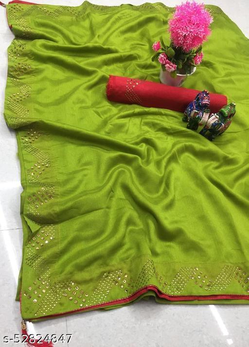 Beautiful Diamond Work Silk Saree And Blouse