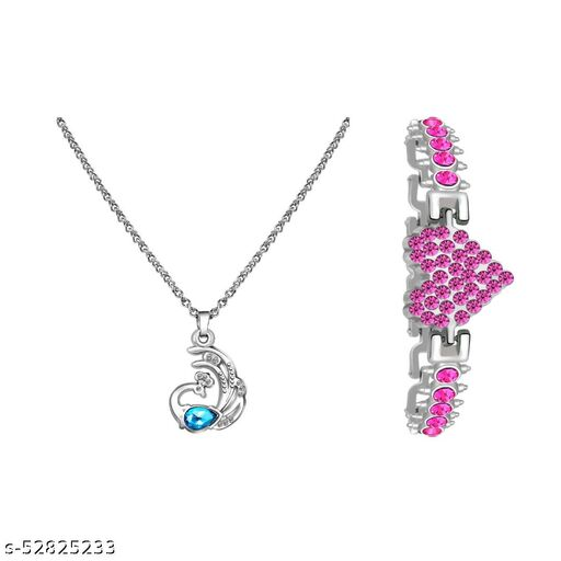 BLUE PENDANT WITH PINK HEART SHAPED BRACELET (COMBO)