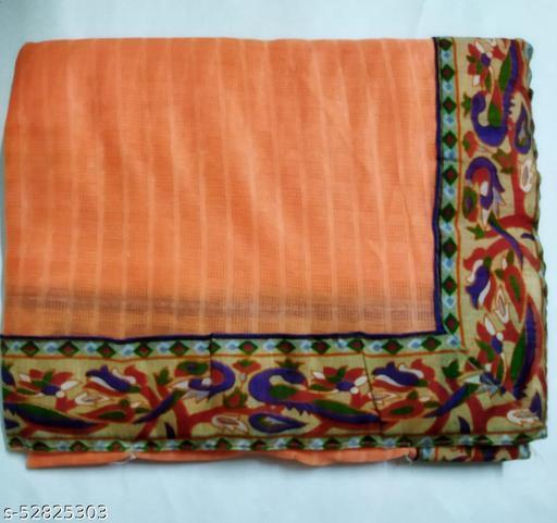 Orange Fancy Silk Saree
