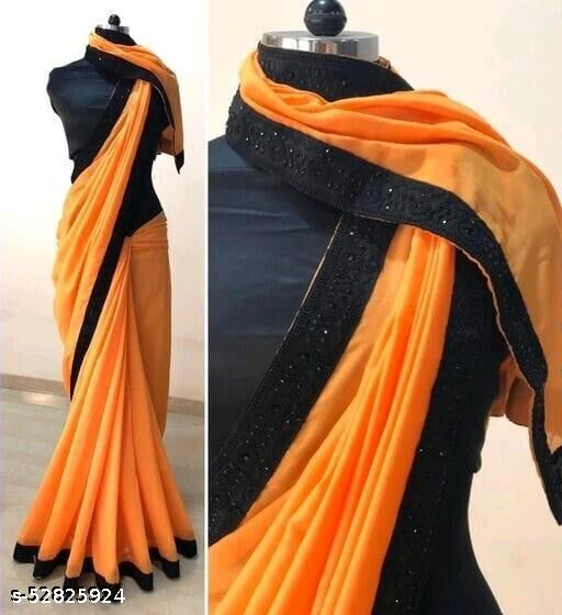 SOLID VICHITRA SILK SAREE WITH EMBRODERY LACE WORK AND BLOUSE