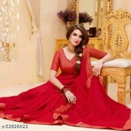 BEUTIFULL VICHITRA SILK WITH BROCADE LACE AND BLOUSE