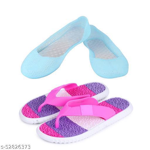 WMK Women's Combo of Rain Slipper and Rain Belly For Women and Girls (Tiranga_Purple   1018_Turquoise)