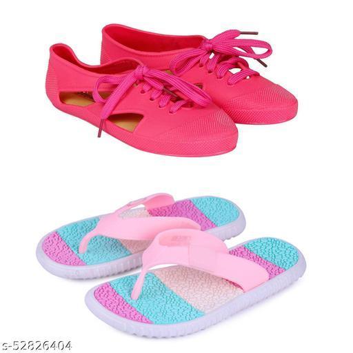 WMK Women's Combo of Rain Slipper and Rain Shoe For Women and Girls (Tiranga_Pink   802_Pink)