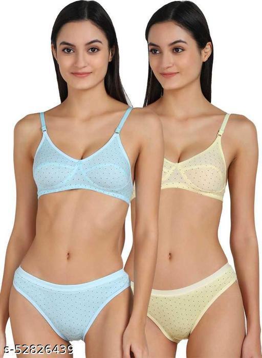 Iconic Deeva Womens Cotton Printed Bra Panty Set of 2, Women Lingerie Set Polka Dot Pure Cotton Non-Padded Bra & Panty
