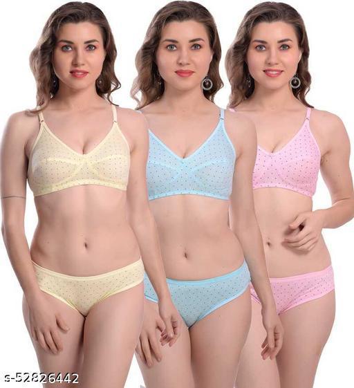 Iconic Deeva Womens Cotton Printed Bra Panty Set of 3, Women Lingerie Set Polka Dot Pure Cotton Non-Padded Bra & Panty