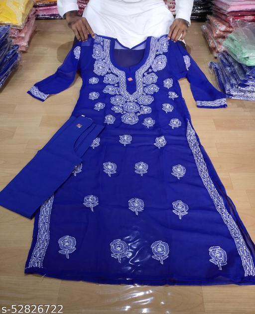 ADL Creations Lucknowi Chikankari Hand Embroidered Dark Blue Georgette Rose Pattern Kurti