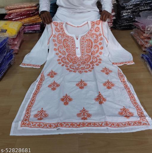 ADL Creations Lucknowi Chikankari Hand Embroidered White Cotton Gala Booti Kurti