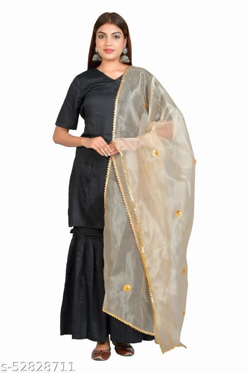 Kara Art House Women Organza Net Dupatta Floral Gota Patti Design Ladies Chunni for All Occasion 2.5 Meter