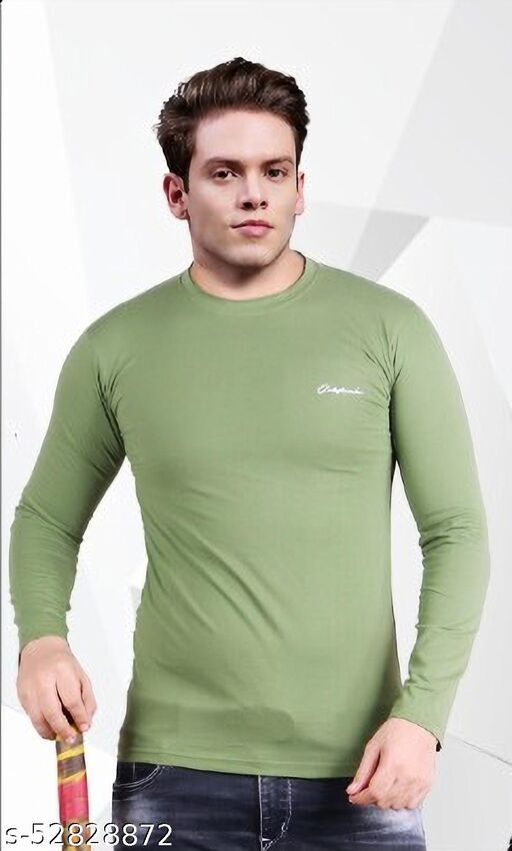 Men's Striped Round Neck Full Sleeve Cotton Blend Premium Quality T Shirt (Colour: Pista)
