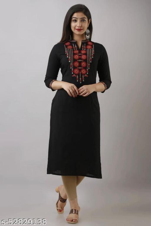 Pranav Fashion Black Colour Rayon Kurta