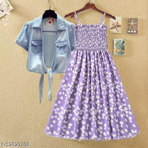 Purple printed kansai with jeans dresses