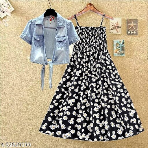 Black printed kansai with jeans dresses