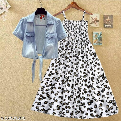 White printed kansai with jeans dresses