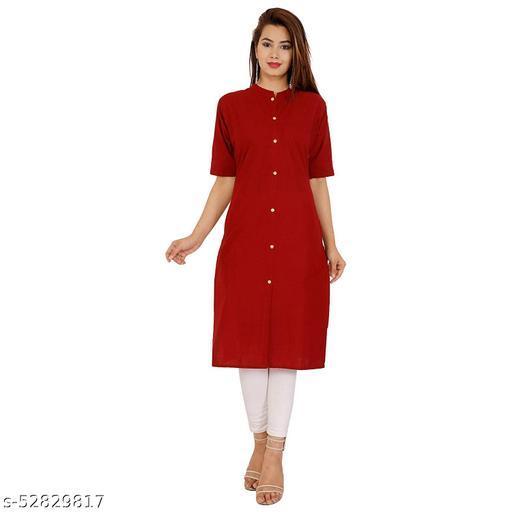 Women's Straight 3/4 Sleeve Cotton Plain Kurti For Women/Girl