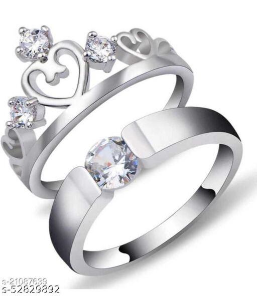 Couples Crown King Queen American diamond Valentine Gifts Adjustable Love Stylish Combo Couple Heart lover combo finger rings for Couples girls women girlfriend boyfriend Stone, Crystal, Brass Cubic Zirconia, Diamond Silver Plated Ring Set