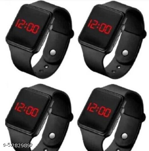 Digital Black Led band watch for kid's and boy's (Pack of 4)