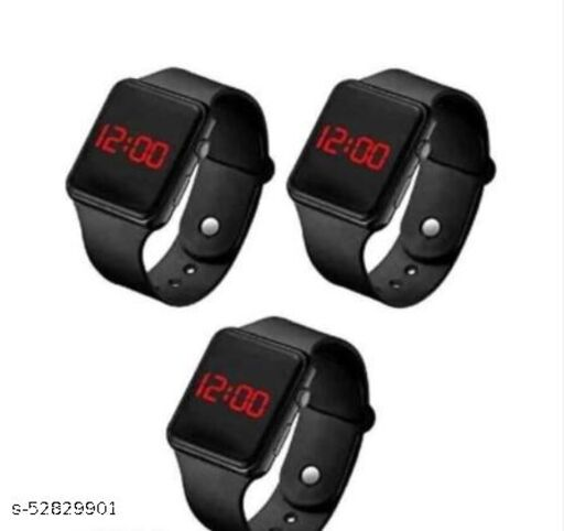 Digital Black Led band watch for kid's and boy's (Pack of 3)