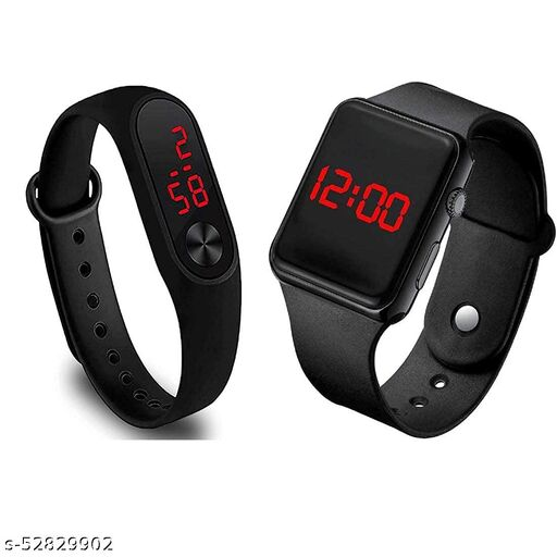 Digital Black Led band watch for kid's and boy's (Pack of 2)