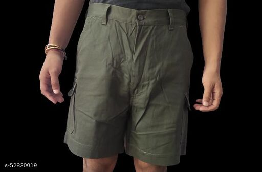 P G Solid Men Dark green Cargo Shorts