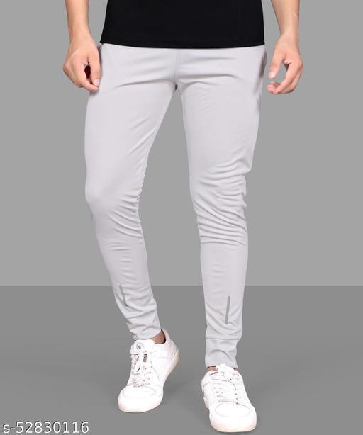 MBRO Solid Men Grey Track Pants