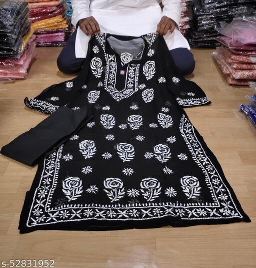 ADL Creations Lucknowi Chikankari Black Georgette Hand Embroidered Rose Gala Booti Kurti