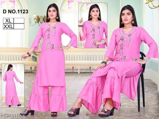 latest pink kurti with zari work with palazo