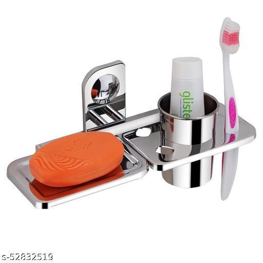 ELVIZ Soap Dish 1 Side And 1 Side ToothBrush Holder ( Pack Of 1)