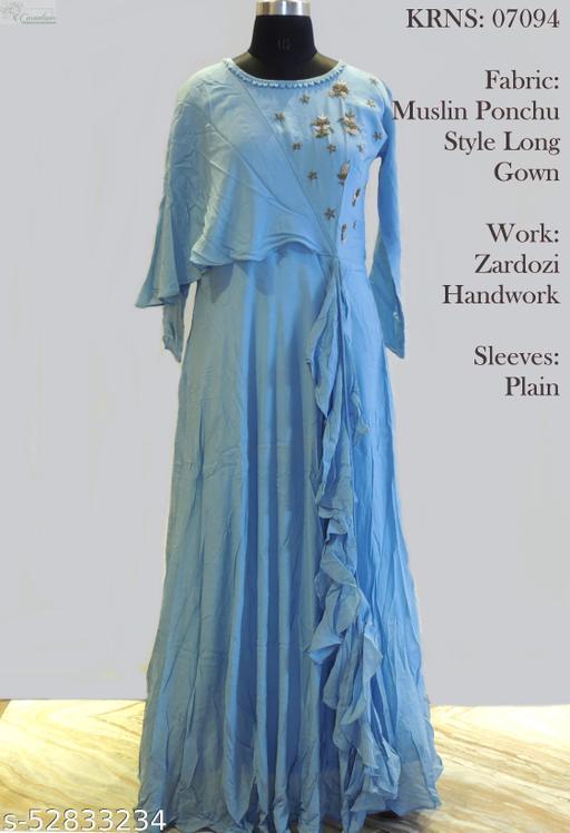 Muslin Pounchu style long gown