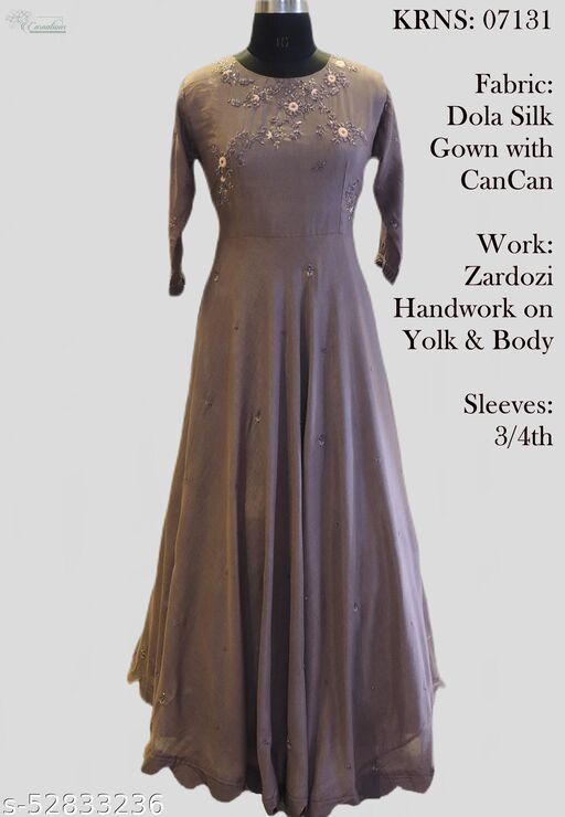 Pure Dola Silk heavy gown with can can