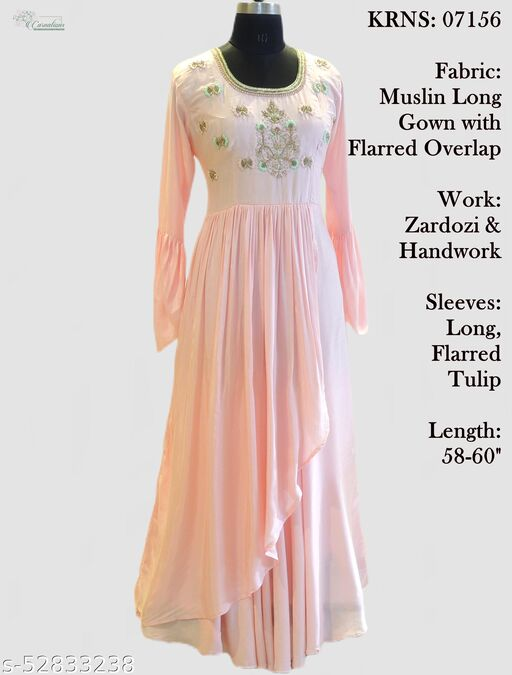 Muslin long gown with flarred overlap