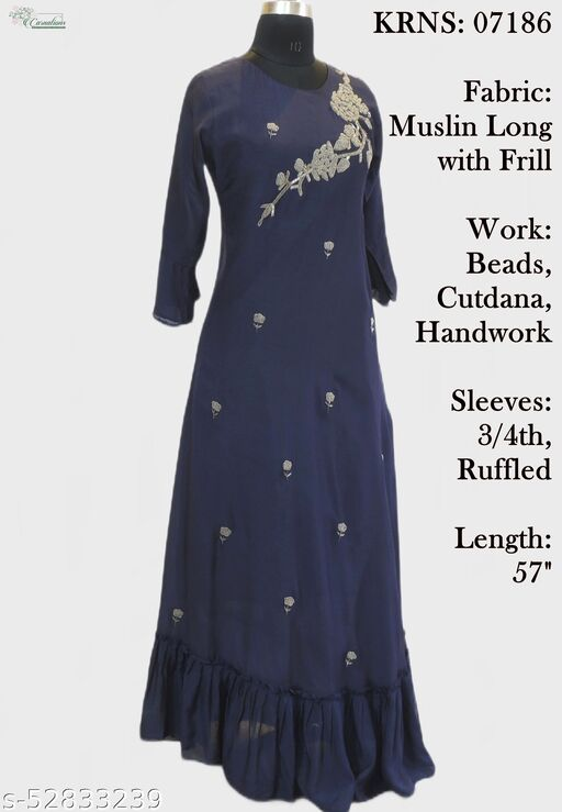 Muslin long gown with frill