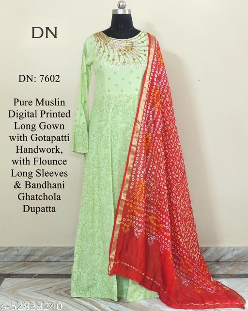 Pure muslin digital printed long gown