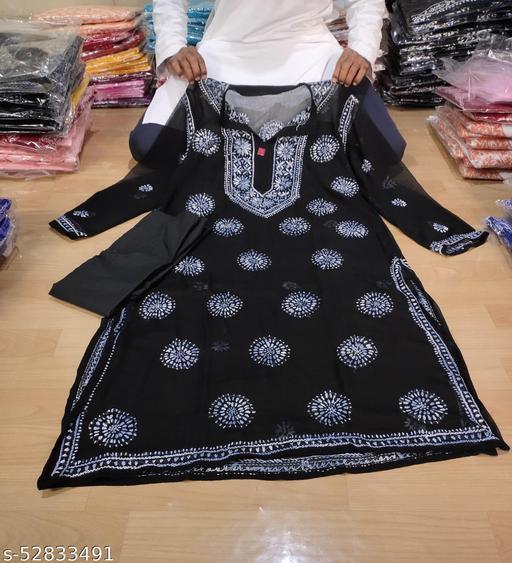 ADL Creations Lucknowi Chikankari Hand Embroidered Black Georgette Gol Booti Kurti