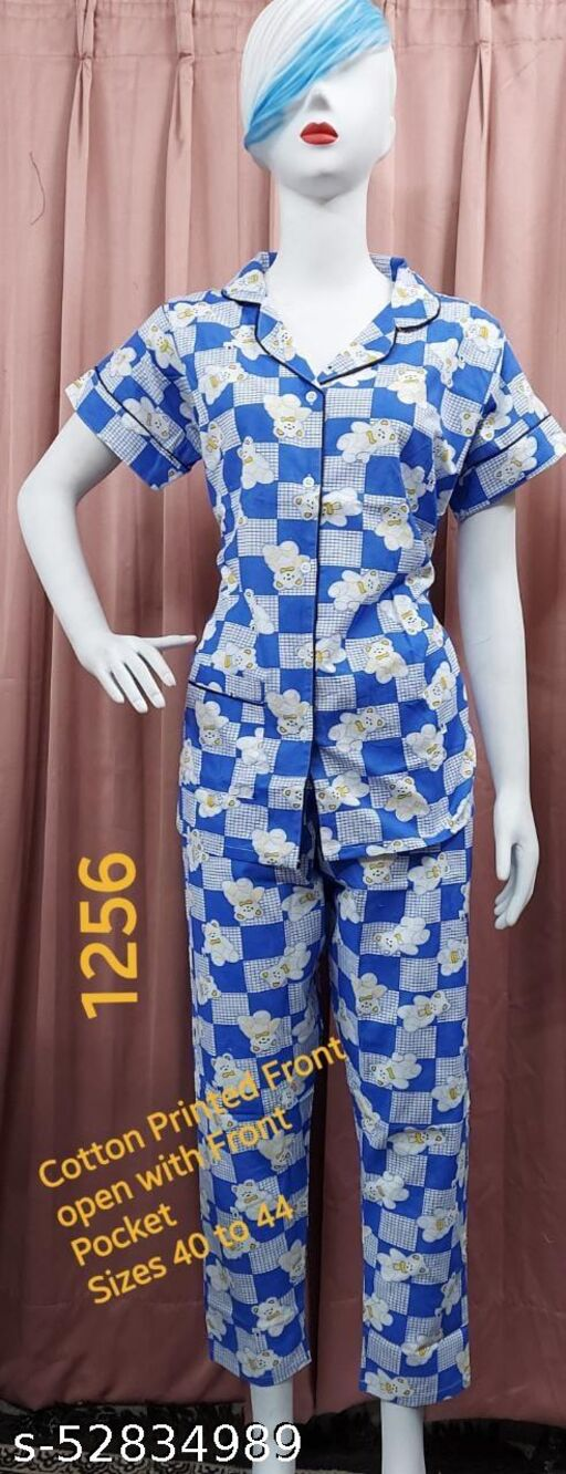 Cotton Print Fabric front open with pocket-1256