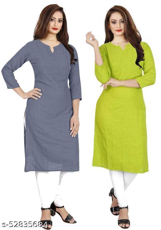 Stylish Trendy Fashionable Multi Purpose Straight Cottan Slub Solid Pattern Attractive & Simple Plain Kurti