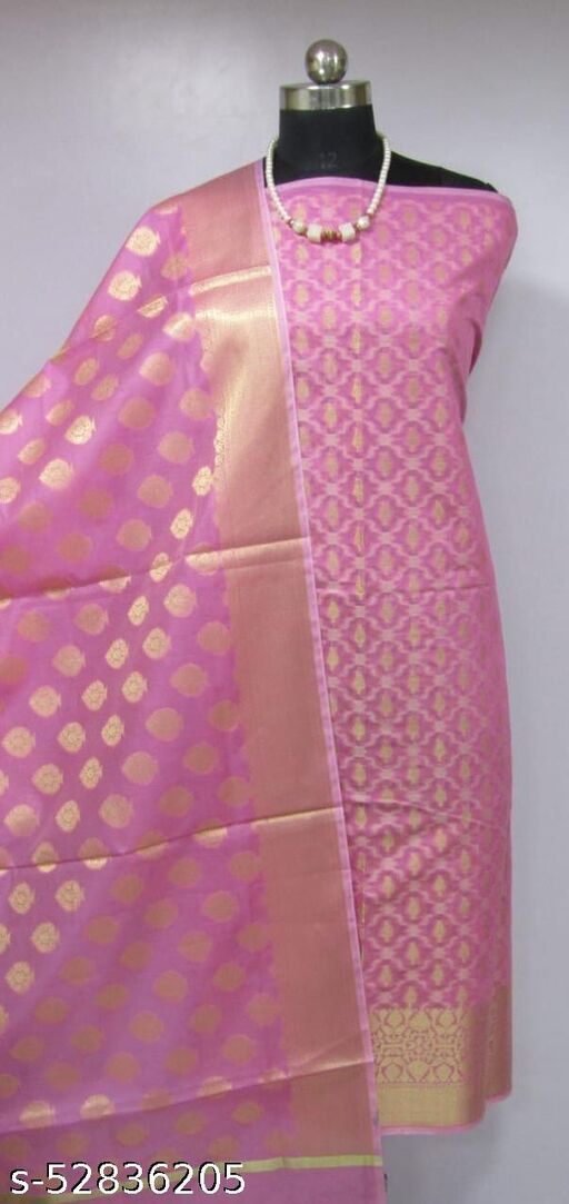 (R3Pink) TrenDy Banarsi Cotton Suit And Dress Material