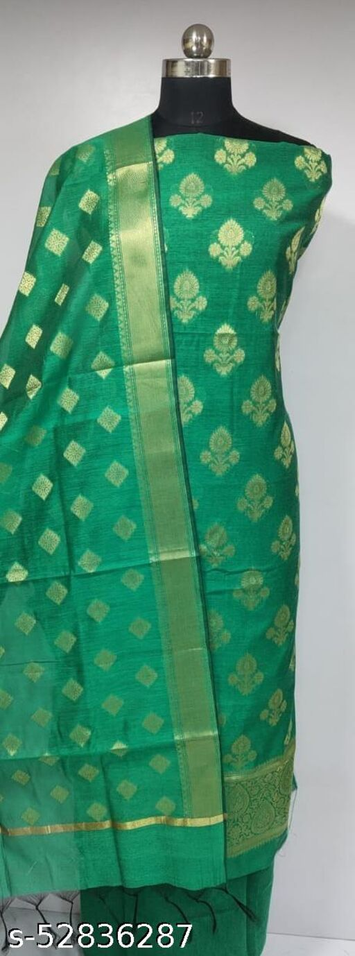(R13Green) Fashionable Banarsi Cotton Suit And Dress Material
