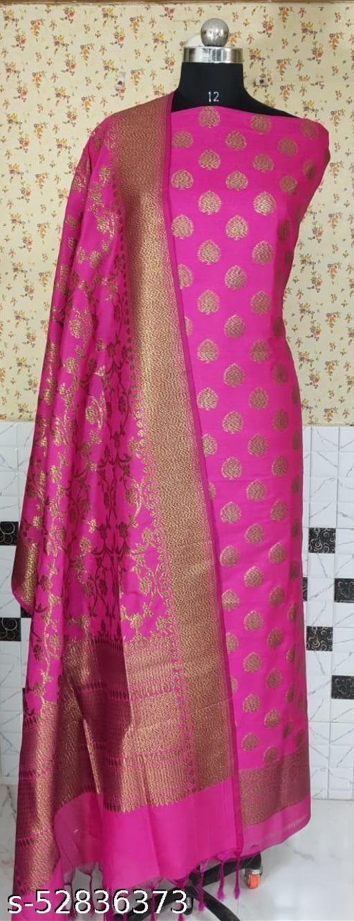 (R1Pink) Weddings Special Banarsi Kataan Silk Suit And Dress Material