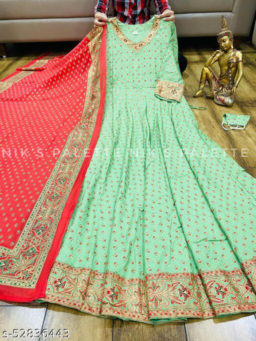WOMEN'S BRANDED REYON GOLD PRINTED ANARKALI Gowns WITH DUPATTA SET