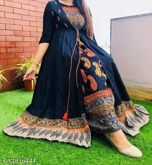 WOMEN'S BRANDED REYON GOLD PRINTED ANARKALI Gowns WITH SHRUG