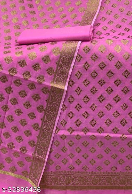 (R7Pink) Fabulous Antic Zari Woven Banarsi Handloom Cotton Suit And Dress Material