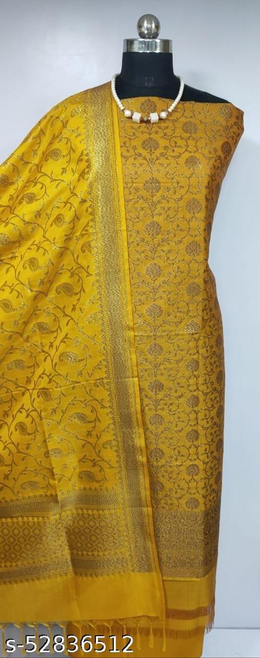 (R8Mustard) Fabulous Banarsi Kataan Silk Suit And Dress Material