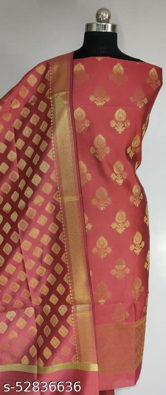 (R10Peach) TrenDy Fabulous Banarsi Silk Suit And Dress Material
