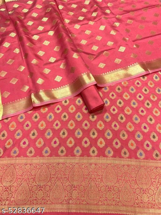 (R12Peach) Fashionable Banarsi Multi Mina Silk Suit And Dress Material